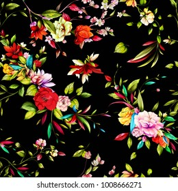 Seamless floral background pattern. Magnolia, gladiolus flowers with leaves and on black. Vintage style. Vector stock.