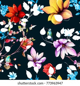 Seamless floral background pattern. Magnolia flowers, pomegranate buds with humming bird, nightingale on black. Hand drawn, vector - stock.
