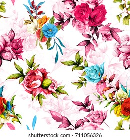 Seamless floral background pattern. Peony, poppy, roses with leaves. Abstract, hand drawn illustration. Vector - stock.