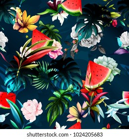Seamless floral background pattern. Watermelon, peony flowers, tropic leaf on dark blue. Abstract, hand drawn.