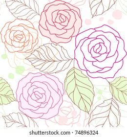 seamless floral background with pink roses