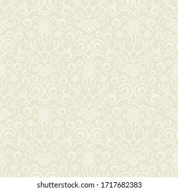 Seamless floral background in Rococo style. Beige classic ornament, Wallpaper or fabric in vector