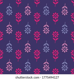 Seamless floral background with scarlet and lilac flowers, design template for fabric brochure, catalog, poster, book, magazine