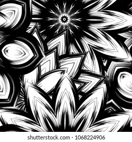 Seamless floral background. Tracery handmade nature ethnic fabric backdrop pattern with saturated dark flowers. Textile design texture. Decorative binary monochrome black and white art. Vector