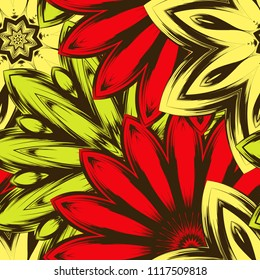 Seamless floral background. Tracery handmade nature ethnic fabric backdrop pattern with flowers. Textile design texture. Decorative color art. Vector