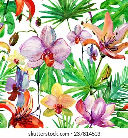 Seamless floral background with tropical flowers and leaves. Hand painted watercolor painting. Vector.