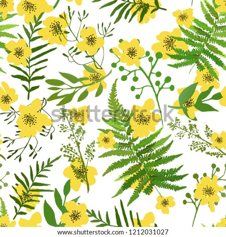 Seamless Floral Background Yellow Flowers Green Stock Vector