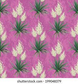 Seamless floral background, Yucca flowers and abstract grungy pattern. Vector