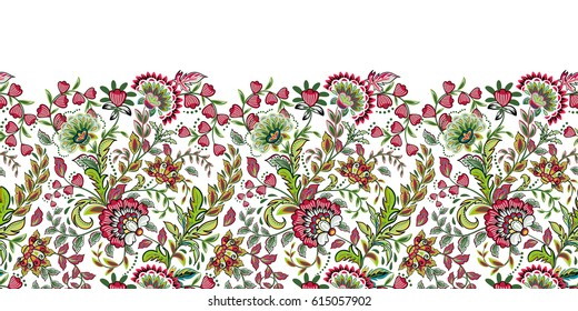 Seamless floral banner frame. Seamless border with hand draw fantasy flowers. Bright colorful doodle pattern