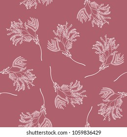 Seamless floral black and white pattern with delicate branches of stylized mimosa flower. White silhouettes on mauve pink background.