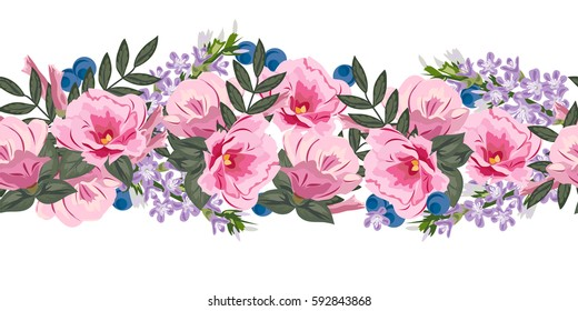 Seamless floral border with cute pink flowers. Hand-drawn pattern on white  background. Design element for cards, invitations, wedding, congratulations.