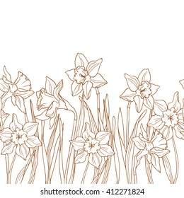 Seamless floral border with daffodils.