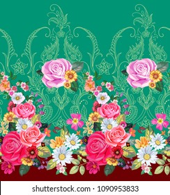 Seamless floral border with paisley