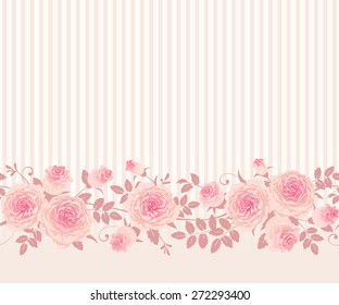 Seamless floral border. Vector pattern with English roses, leaves and stripes.