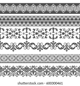 Seamless floral border vector template. Ornament repeating divider.