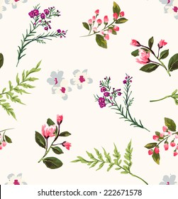 seamless floral branch vector pattern