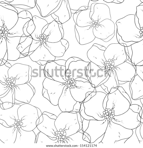 Seamless floral colored background. Black and white fabric texture. Floral vintage design.