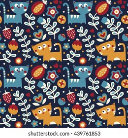 Seamless floral cute spring pattern made with flowers, cats, plants, strawberry, cherry, berries, leaves, nature, summer