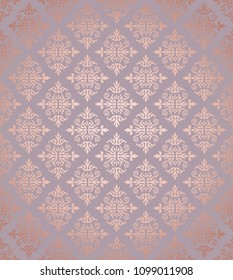 Seamless floral damask rose gold wallpaper pattern. This image is a vector illustration.