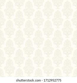 Seamless floral damask Wallpaper. Baroque light beige background color