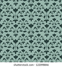 Seamless floral dark and blue pattern