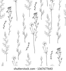 Seamless floral decorative pattern with black-and-white herbs. Endless texture for your design.White background.