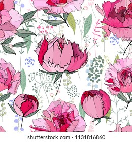Seamless floral decorative pattern with red and pink peonies. Endless texture for your design, fabrics, decor.