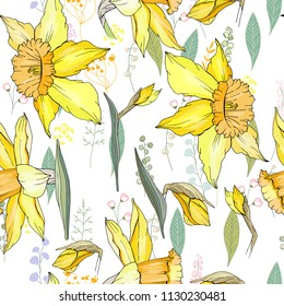 Seamless floral decorative pattern with yellow daffodils. Endless texture for your design, fabrics, decor.