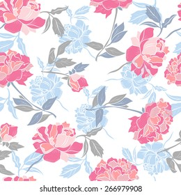 Seamless floral design with peony.