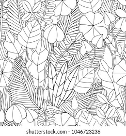 Seamless floral doodle background pattern in vector with leaves.   Black and white Coloring book. Monochrome.