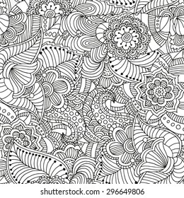 Seamless  floral doodle background pattern in vector.  Design asian, ethnic, tribal pattern. Black and white background. Coloring book.