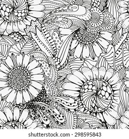 Seamless  floral doodle background pattern in vector.  Design asian, ethnic, tribal pattern. Black and white background. Coloring book. Sunflower zentangle