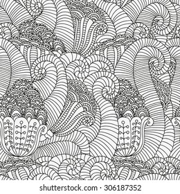 Seamless  floral doodle background pattern in vector.  Design Asian, ethnic, zentangle, tribal pattern. Black and white background. Coloring book. Monochrome.