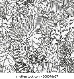 Seamless  floral doodle background pattern in vector with autumn leaves.  Design Asian, ethnic, zentangle, tribal pattern. Black and white background. Coloring book. Monochrome.