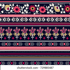 Seamless floral ethnic pattern.  Can be used for textile, greeting card, coloring book, phone case print.
