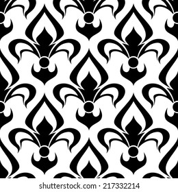 Seamless floral fleur-de-lis royal black lily pattern, isolated on white colored backdrop