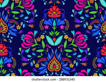 seamless floral folk pattern. slavic european style, bright colors, dark background. decorative flowers and ornaments, symmetric layout for interior or fashion textiles.