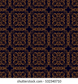 Seamless floral and geometric ornament on background. Wallpaper pattern