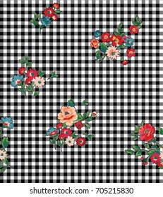 Seamless Floral / Gingham Pattern in Vector