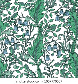 Seamless floral green pattern. Vector illustration. White background
