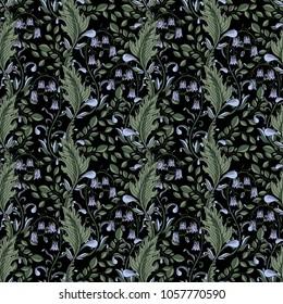 Seamless floral green pattern. Vector illustration. Black background