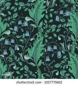 Seamless floral green pattern. Vector illustration. Black background