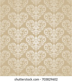 Seamless floral hearts golden damask wallpaper. This image is a vector illustration.