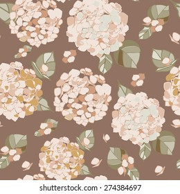 Seamless floral ivory pastel hydrangea pattern on a coffee brown background