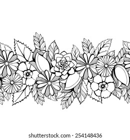 Seamless  floral lacy border