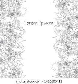 Seamless floral monochrome background, Lorem Ipsum stock vector illustration for web, for print