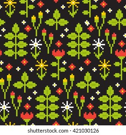 Seamless floral nature pattern background with forest berry, leaf, flower. Vector retro pixel art illustration.