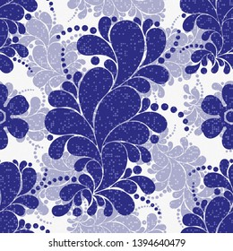 Seamless floral navy blue pattern with paisley and polka dots in Russian Gzhel style. Vector image. Eps 10