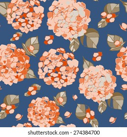 Seamless floral orange hydrangea pattern on a cerulean blue background