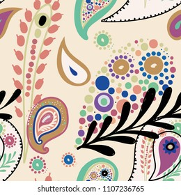 "Seamless floral ornament with elements of trendy Asian pattern ""Paisley"""